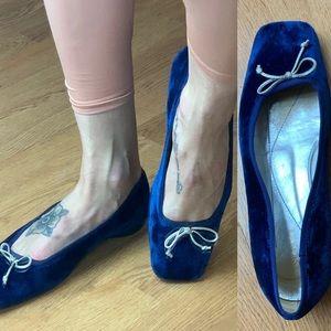 Kate spade blue velvet pointe ballet square toe